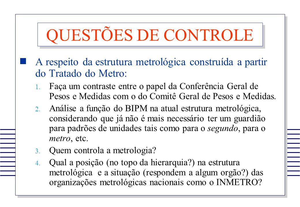 QUESTÕES DE CONTROLE A respeito da estrutura metrológica construída a partir do Tratado do Metro: 1. Faça um contraste entre o papel da Conferência Ge