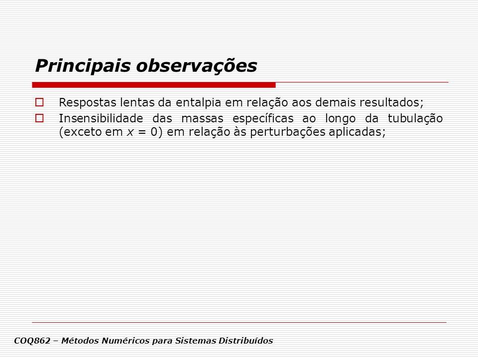 Principais observações COQ862 – Métodos Numéricos para Sistemas Distribuídos Respostas lentas da entalpia em relação aos demais resultados; Insensibil