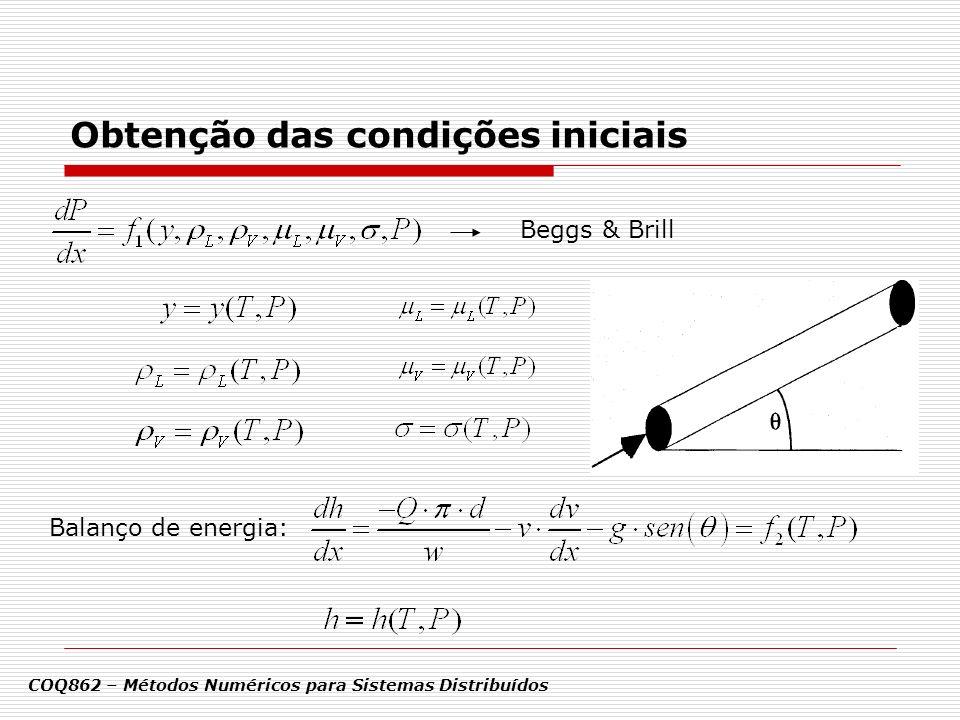 Obtenção das condições iniciais Balanço de energia: COQ862 – Métodos Numéricos para Sistemas Distribuídos Beggs & Brill