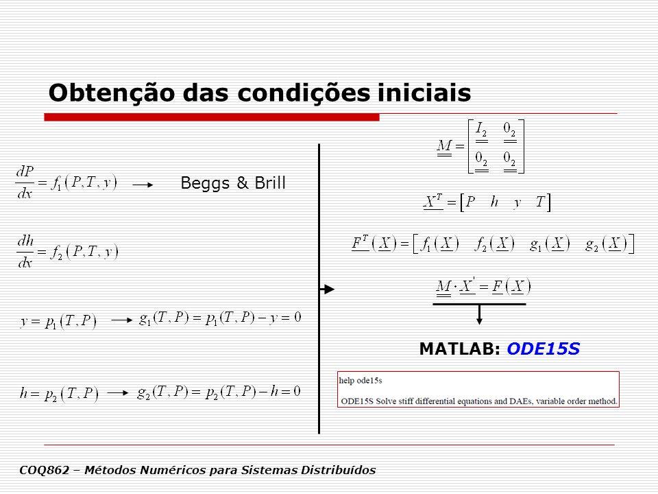 MATLAB: ODE15S Beggs & Brill COQ862 – Métodos Numéricos para Sistemas Distribuídos Obtenção das condições iniciais