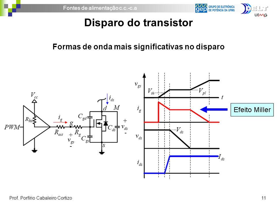 Fontes de alimentação c.c.-c.a Prof. Porfírio Cabaleiro Cortizo 11 Disparo do transistor Formas de onda mais significativas no disparo
