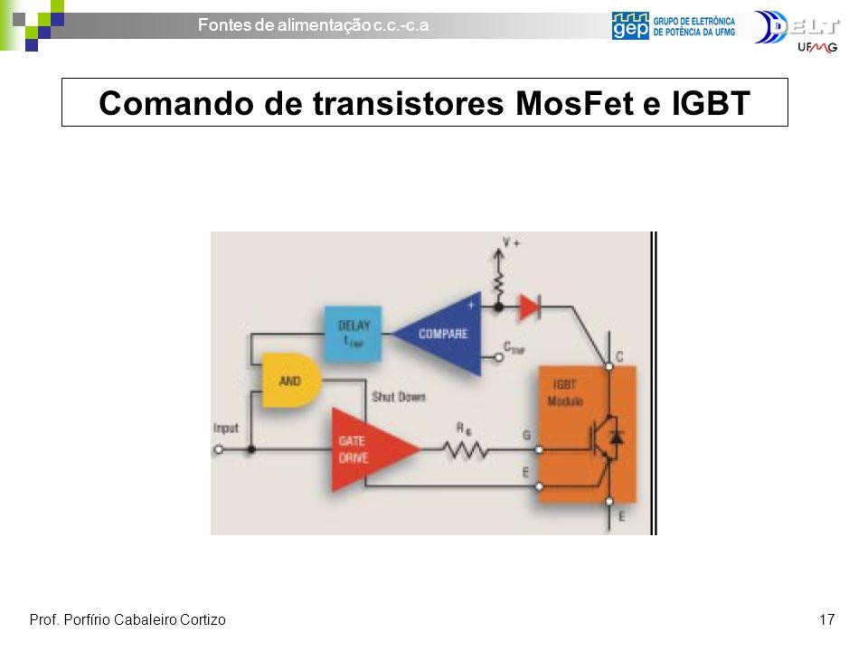 Fontes de alimentação c.c.-c.a Prof. Porfírio Cabaleiro Cortizo 17 Comando de transistores MosFet e IGBT