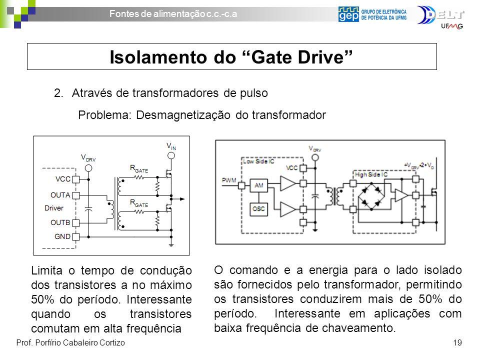 Fontes de alimentação c.c.-c.a Prof. Porfírio Cabaleiro Cortizo 19 Isolamento do Gate Drive 2.Através de transformadores de pulso Problema: Desmagneti