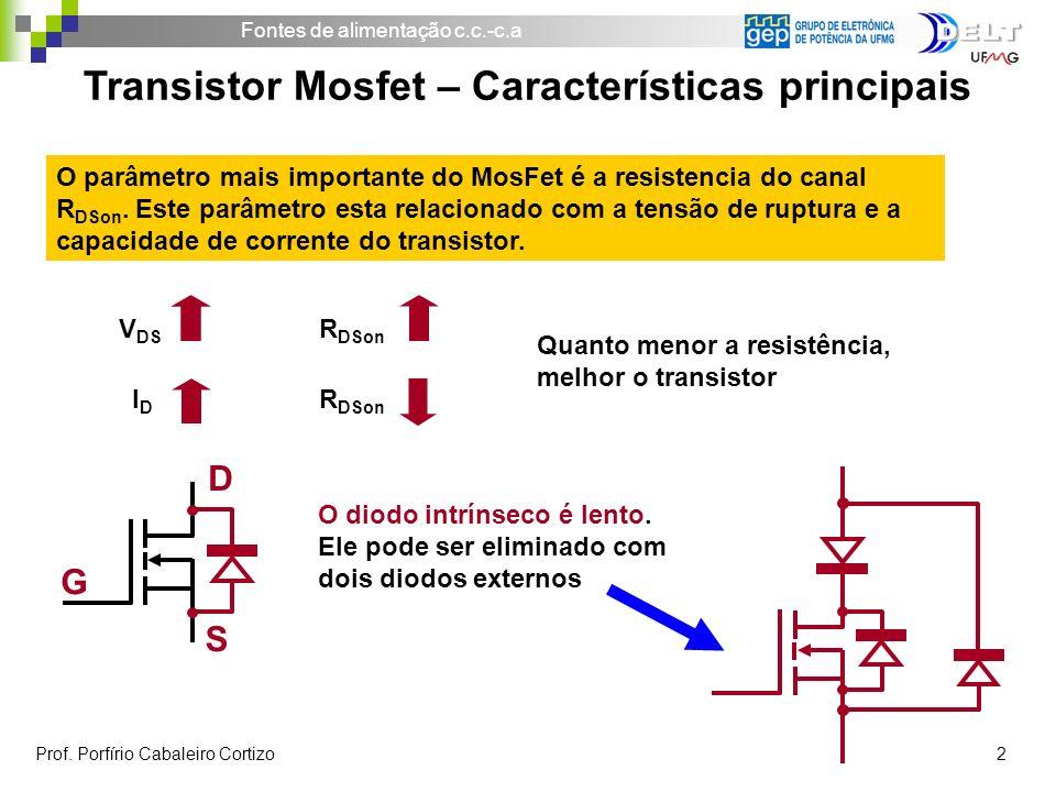 Fontes de alimentação c.c.-c.a Prof. Porfírio Cabaleiro Cortizo 2 Transistor Mosfet – Características principais Quanto menor a resistência, melhor o