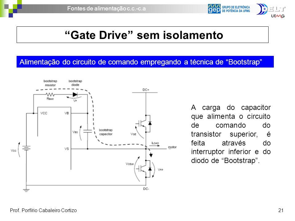 Fontes de alimentação c.c.-c.a Prof. Porfírio Cabaleiro Cortizo 21 Gate Drive sem isolamento Alimentação do circuito de comando empregando a técnica d
