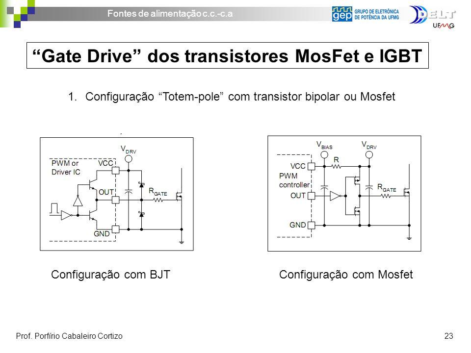 Fontes de alimentação c.c.-c.a Prof. Porfírio Cabaleiro Cortizo 23 Gate Drive dos transistores MosFet e IGBT 1.Configuração Totem-pole com transistor