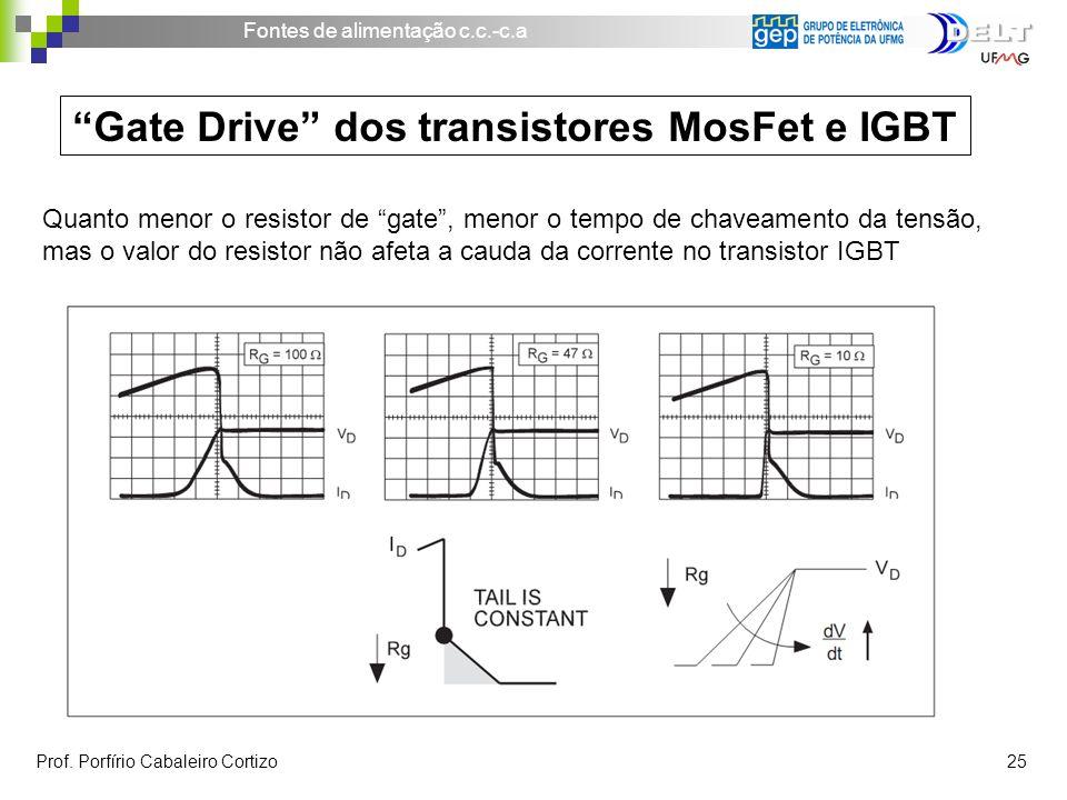 Fontes de alimentação c.c.-c.a Prof. Porfírio Cabaleiro Cortizo 25 Gate Drive dos transistores MosFet e IGBT Quanto menor o resistor de gate, menor o