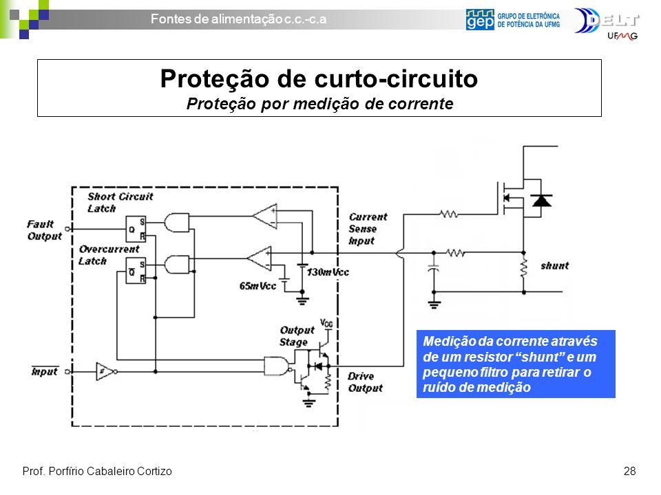 Fontes de alimentação c.c.-c.a Prof. Porfírio Cabaleiro Cortizo 28 Proteção de curto-circuito Proteção por medição de corrente Medição da corrente atr