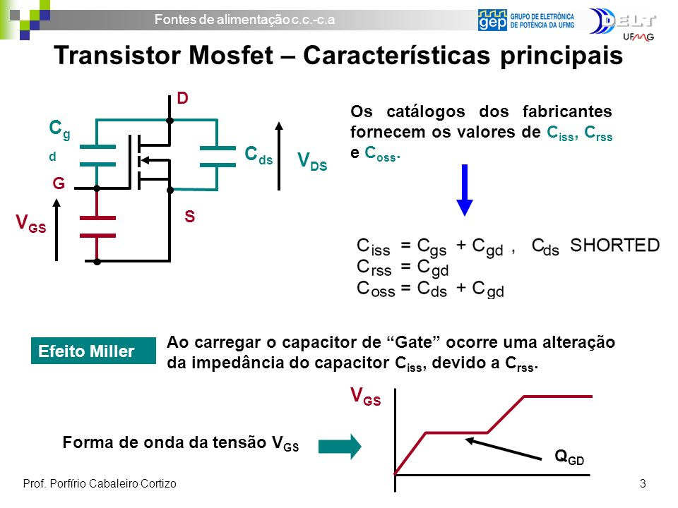Fontes de alimentação c.c.-c.a Prof. Porfírio Cabaleiro Cortizo 14 Bloqueio do transistor