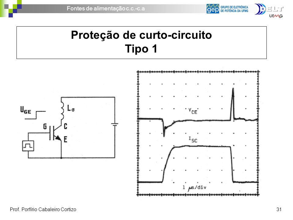 Fontes de alimentação c.c.-c.a Prof. Porfírio Cabaleiro Cortizo 31 Proteção de curto-circuito Tipo 1
