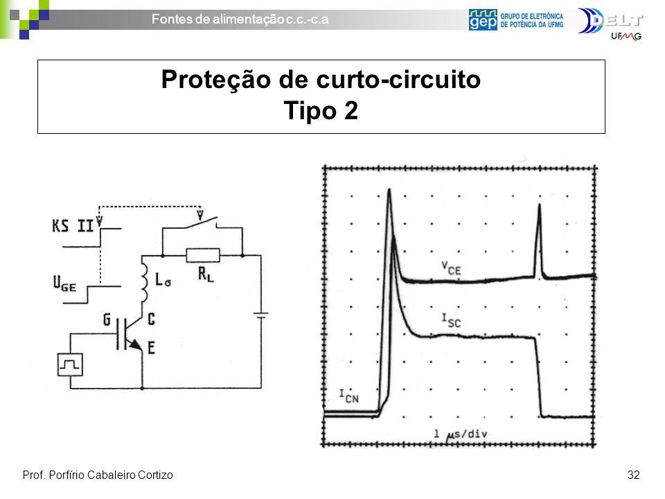 Fontes de alimentação c.c.-c.a Prof. Porfírio Cabaleiro Cortizo 32 Proteção de curto-circuito Tipo 2