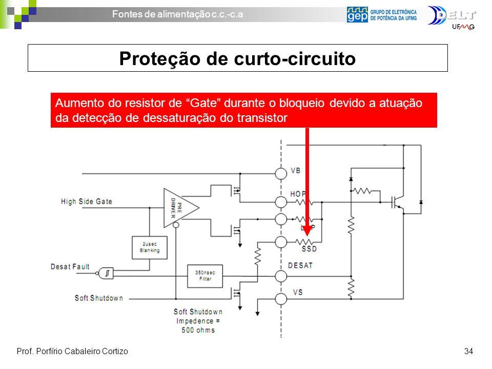 Fontes de alimentação c.c.-c.a Prof. Porfírio Cabaleiro Cortizo 34 Proteção de curto-circuito Aumento do resistor de Gate durante o bloqueio devido a