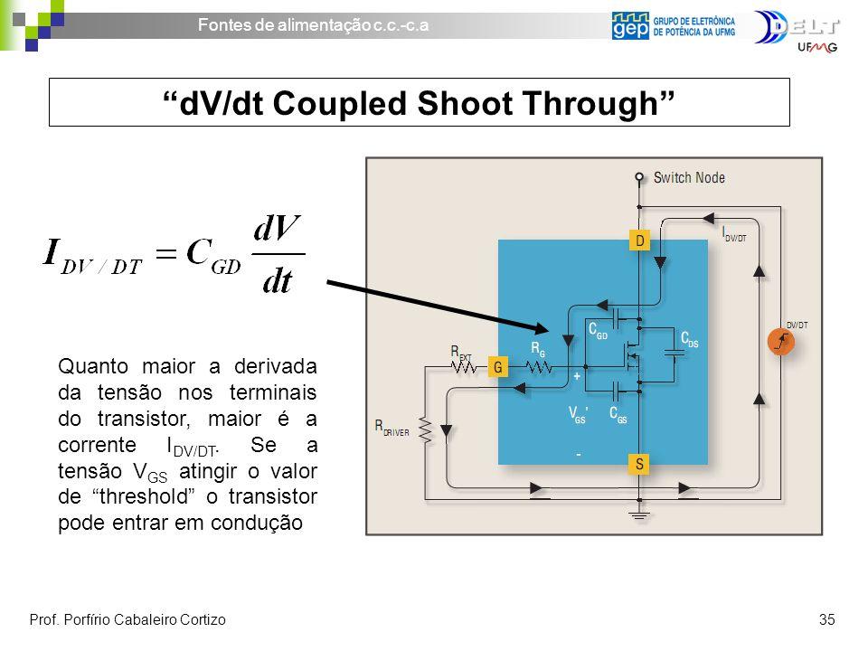 Fontes de alimentação c.c.-c.a Prof. Porfírio Cabaleiro Cortizo 35 dV/dt Coupled Shoot Through Quanto maior a derivada da tensão nos terminais do tran