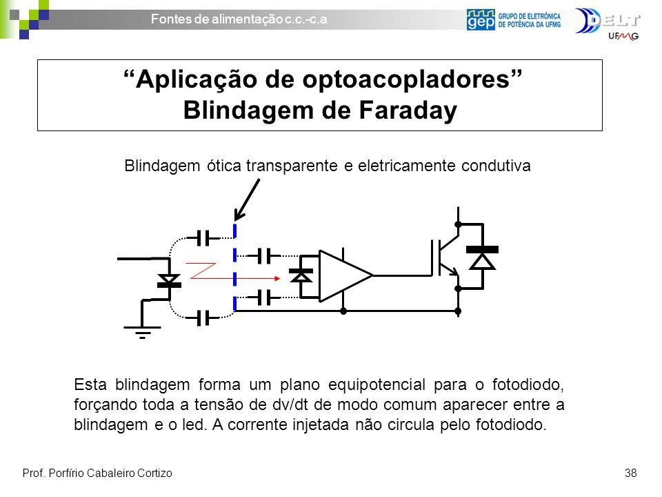 Fontes de alimentação c.c.-c.a Prof. Porfírio Cabaleiro Cortizo 38 Aplicação de optoacopladores Blindagem de Faraday Blindagem ótica transparente e el
