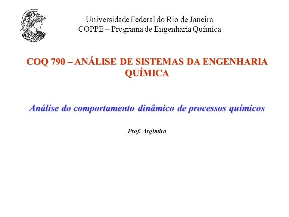 COQ 790 – ANÁLISE DE SISTEMAS DA ENGENHARIA QUÍMICA Análise do comportamento dinâmico de processos químicos Prof. Argimiro Universidade Federal do Rio