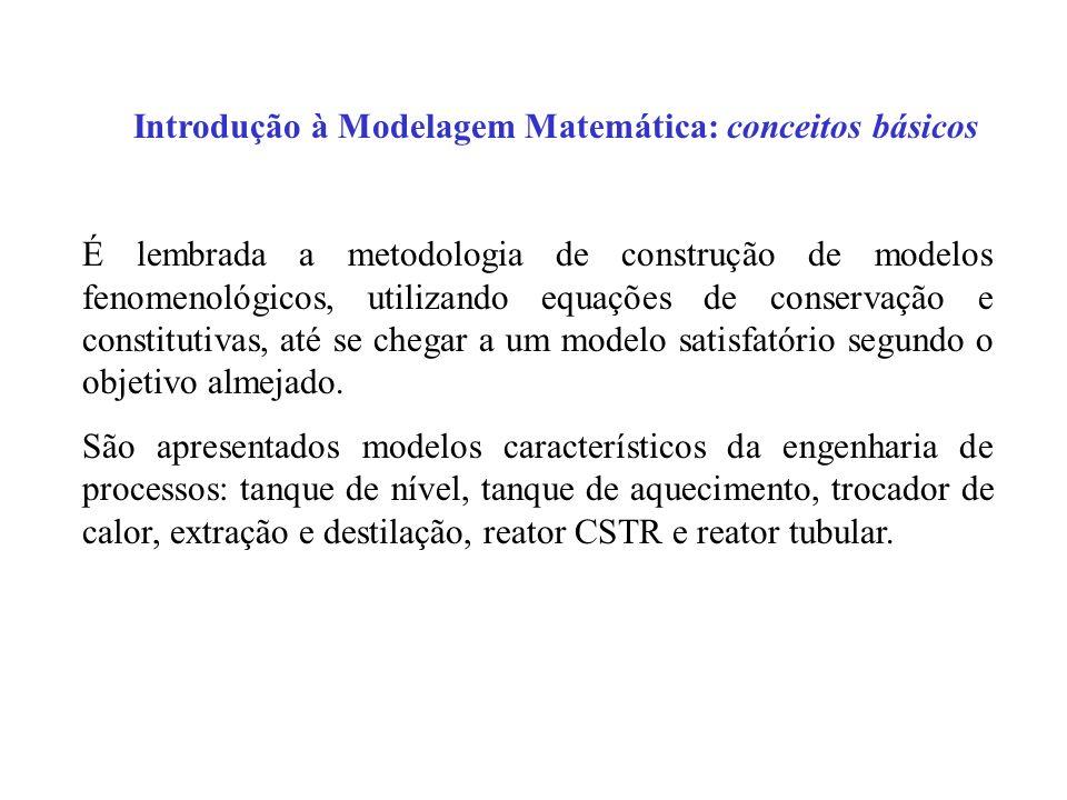 Introdução à Modelagem Matemática: conceitos básicos É lembrada a metodologia de construção de modelos fenomenológicos, utilizando equações de conserv