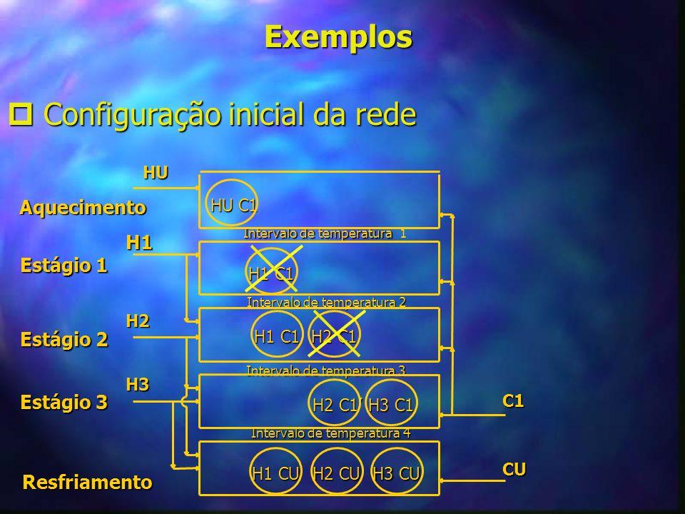 Exemplos Configuração inicial da rede Configuração inicial da rede Resfriamento Estágio 3 Estágio 3 Estágio 2 Estágio 2 Estágio 1 Estágio 1 Aqueciment