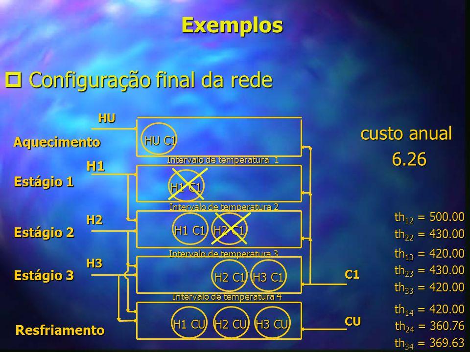 Exemplos Configuração final da rede Configuração final da rede Resfriamento Estágio 3 Estágio 3 Estágio 2 Estágio 2 Estágio 1 Estágio 1 Aquecimento Aq