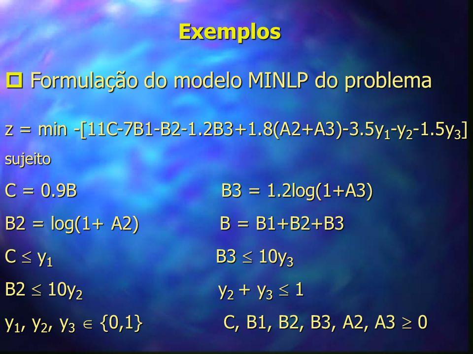 Exemplos Formulação matemática do problema Formulação matemática do problema z = min (-2.9x 3 -8.9log(1+x 1 )-10.44log(1+x 2 )+ z = min (-2.9x 3 -8.9log(1+x 1 )-10.44log(1+x 2 )+ x,y x,y +1.8x 1 +1.8x 2 +3.5y 1 +y 2 +1.5y 3) +1.8x 1 +1.8x 2 +3.5y 1 +y 2 +1.5y 3)sujeito -y 1 +0.9log(1+x 1 )+1.08log(1+x 2 )+0.9x 3 0 -y 1 +0.9log(1+x 1 )+1.08log(1+x 2 )+0.9x 3 0 -10y 2 +log(1+x 1 ) 0 -10y 2 +log(1+x 1 ) 0 -10y 3 +1.2log(1+x 2 ) 0 -10y 3 +1.2log(1+x 2 ) 0 y 2 + y 3 - 1 0 y 2 + y 3 - 1 0