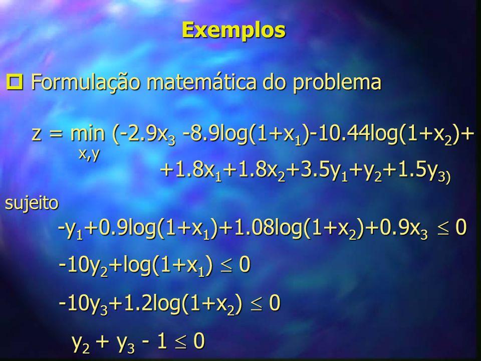 Exemplos Formulação matemática do problema Formulação matemática do problema z = min (-2.9x 3 -8.9log(1+x 1 )-10.44log(1+x 2 )+ z = min (-2.9x 3 -8.9l