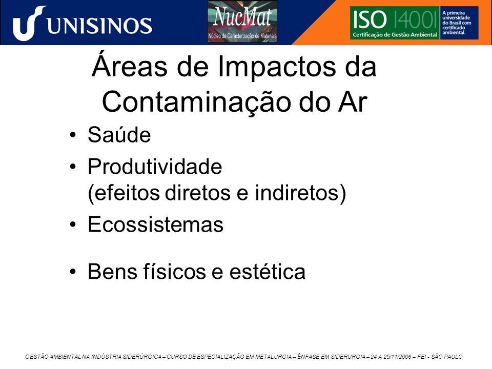 GESTÃO AMBIENTAL NA INDÚSTRIA SIDERÚRGICA – CURSO DE ESPECIALIZAÇÃO EM METALURGIA – ÊNFASE EM SIDERURGIA – 24 A 25/11/2006 – FEI - SÃO PAULO Áreas de