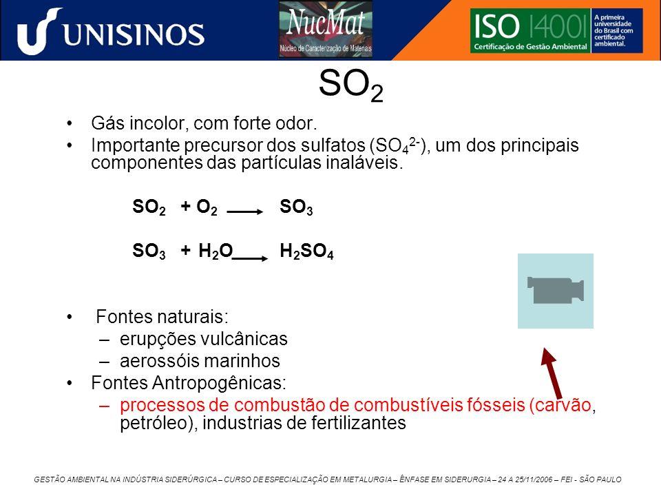 GESTÃO AMBIENTAL NA INDÚSTRIA SIDERÚRGICA – CURSO DE ESPECIALIZAÇÃO EM METALURGIA – ÊNFASE EM SIDERURGIA – 24 A 25/11/2006 – FEI - SÃO PAULO SO 2 Gás