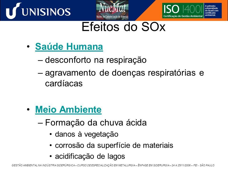 GESTÃO AMBIENTAL NA INDÚSTRIA SIDERÚRGICA – CURSO DE ESPECIALIZAÇÃO EM METALURGIA – ÊNFASE EM SIDERURGIA – 24 A 25/11/2006 – FEI - SÃO PAULO Efeitos d