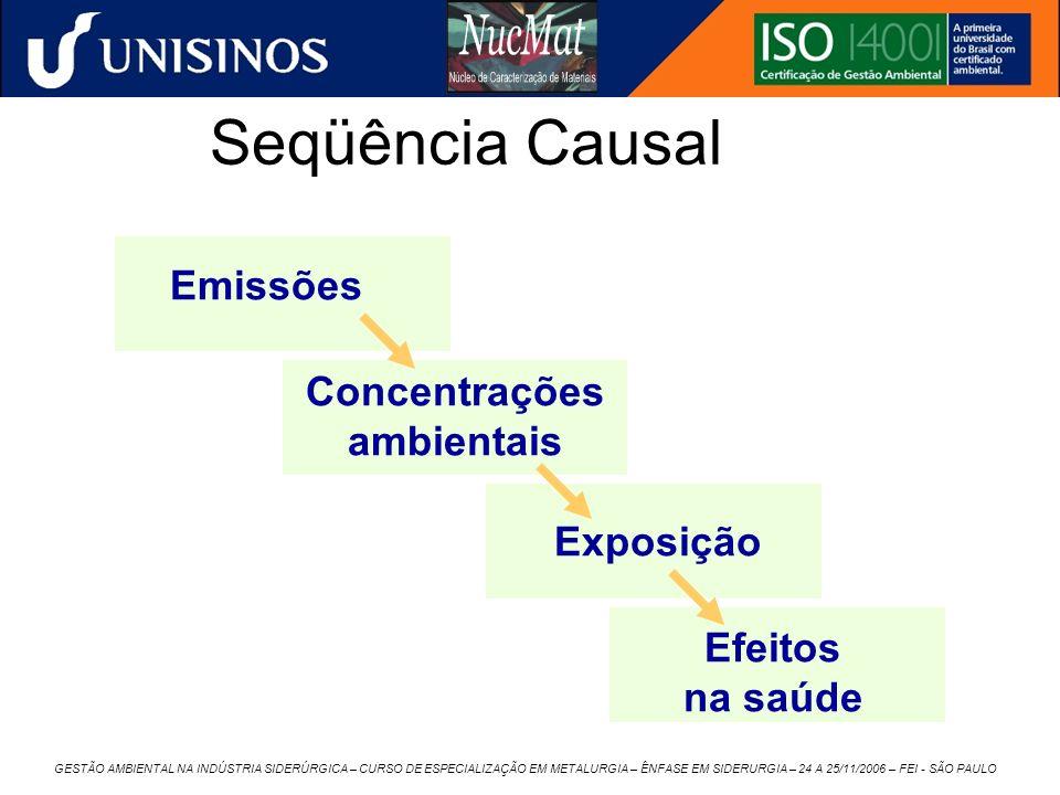 GESTÃO AMBIENTAL NA INDÚSTRIA SIDERÚRGICA – CURSO DE ESPECIALIZAÇÃO EM METALURGIA – ÊNFASE EM SIDERURGIA – 24 A 25/11/2006 – FEI - SÃO PAULO Seqüência