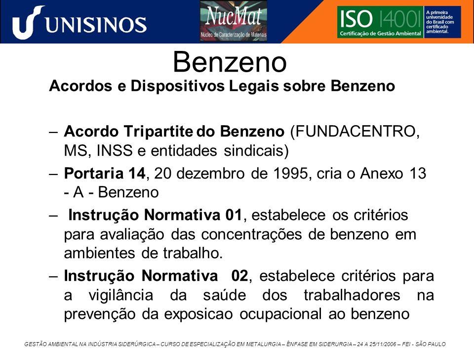 GESTÃO AMBIENTAL NA INDÚSTRIA SIDERÚRGICA – CURSO DE ESPECIALIZAÇÃO EM METALURGIA – ÊNFASE EM SIDERURGIA – 24 A 25/11/2006 – FEI - SÃO PAULO Benzeno A