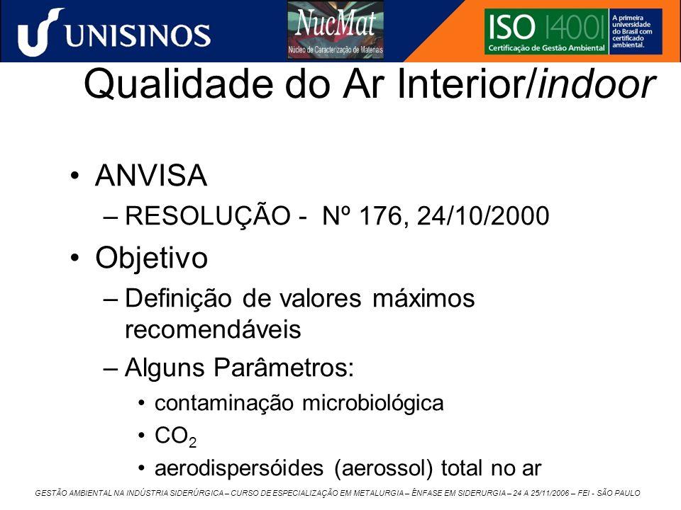 GESTÃO AMBIENTAL NA INDÚSTRIA SIDERÚRGICA – CURSO DE ESPECIALIZAÇÃO EM METALURGIA – ÊNFASE EM SIDERURGIA – 24 A 25/11/2006 – FEI - SÃO PAULO Qualidade