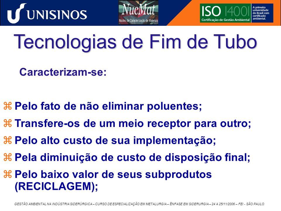 GESTÃO AMBIENTAL NA INDÚSTRIA SIDERÚRGICA – CURSO DE ESPECIALIZAÇÃO EM METALURGIA – ÊNFASE EM SIDERURGIA – 24 A 25/11/2006 – FEI - SÃO PAULO Tecnologi