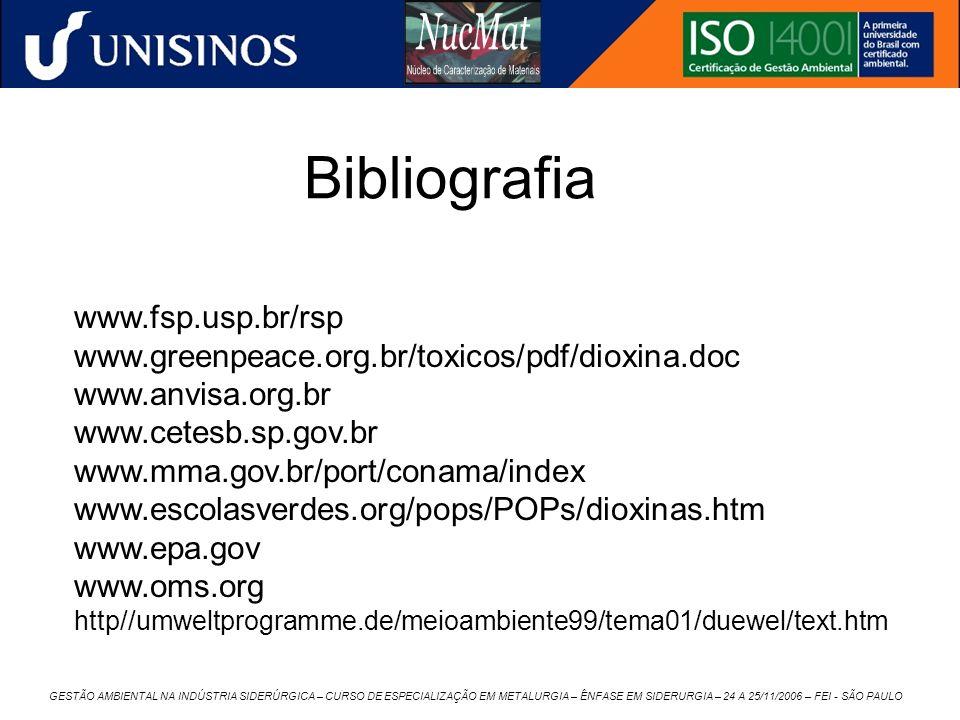 GESTÃO AMBIENTAL NA INDÚSTRIA SIDERÚRGICA – CURSO DE ESPECIALIZAÇÃO EM METALURGIA – ÊNFASE EM SIDERURGIA – 24 A 25/11/2006 – FEI - SÃO PAULO Bibliogra
