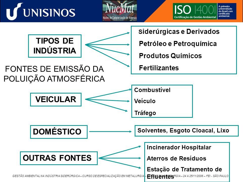 GESTÃO AMBIENTAL NA INDÚSTRIA SIDERÚRGICA – CURSO DE ESPECIALIZAÇÃO EM METALURGIA – ÊNFASE EM SIDERURGIA – 24 A 25/11/2006 – FEI - SÃO PAULO FONTES DE