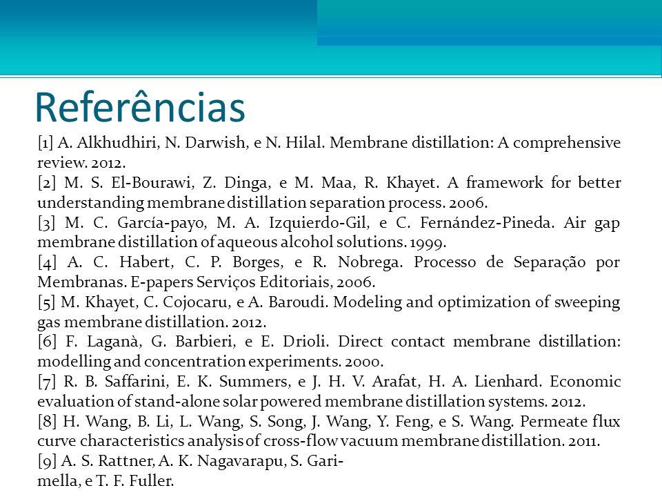 Referências [1] A. Alkhudhiri, N. Darwish, e N. Hilal. Membrane distillation: A comprehensive review. 2012. [2] M. S. El-Bourawi, Z. Dinga, e M. Maa,