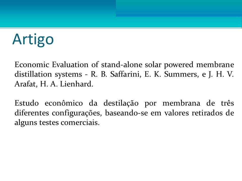 Artigo Economic Evaluation of stand-alone solar powered membrane distillation systems - R. B. Saffarini, E. K. Summers, e J. H. V. Arafat, H. A. Lienh