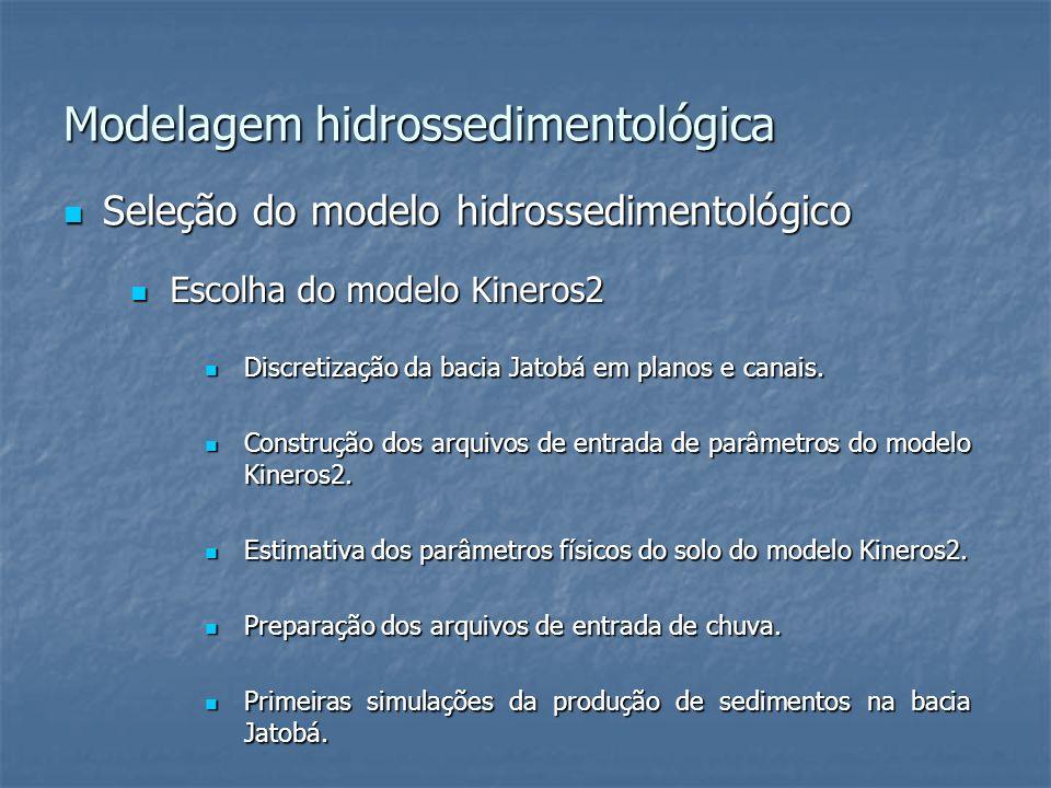 Modelagem hidrossedimentológica Seleção do modelo hidrossedimentológico Seleção do modelo hidrossedimentológico Escolha do modelo Kineros2 Escolha do