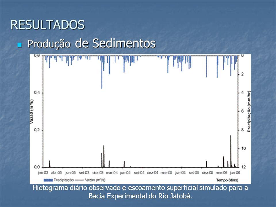 Hietograma diário observado e escoamento superficial simulado para a Bacia Experimental do Rio Jatobá. Produção de Sedimentos Produção de Sedimentos R