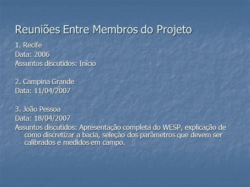 Reuniões Entre Membros do Projeto 1. Recife Data: 2006 Assuntos discutidos: Início 2. Campina Grande Data: 11/04/2007 3. João Pessoa Data: 18/04/2007