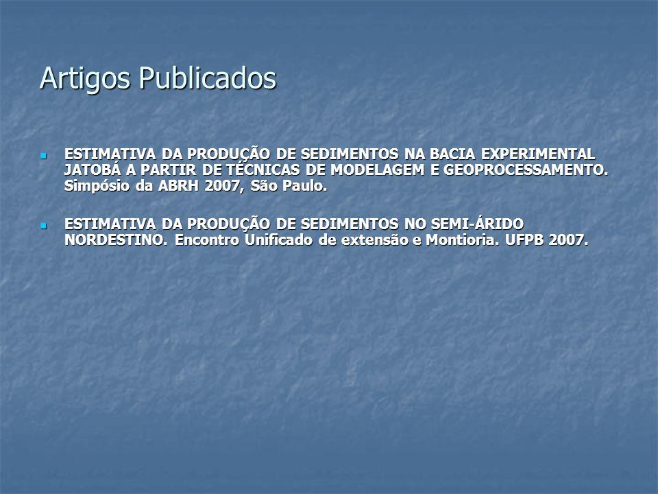 Artigos Publicados ESTIMATIVA DA PRODUÇÃO DE SEDIMENTOS NA BACIA EXPERIMENTAL JATOBÁ A PARTIR DE TÉCNICAS DE MODELAGEM E GEOPROCESSAMENTO. Simpósio da