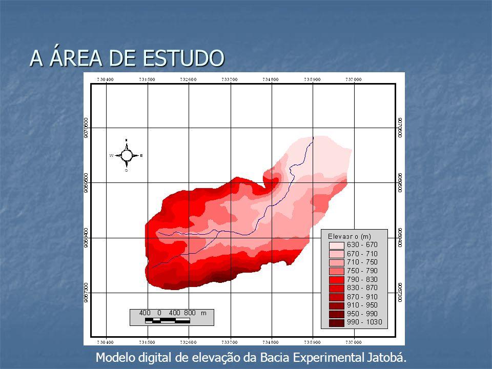 Modelo digital de elevação da Bacia Experimental Jatobá. A ÁREA DE ESTUDO