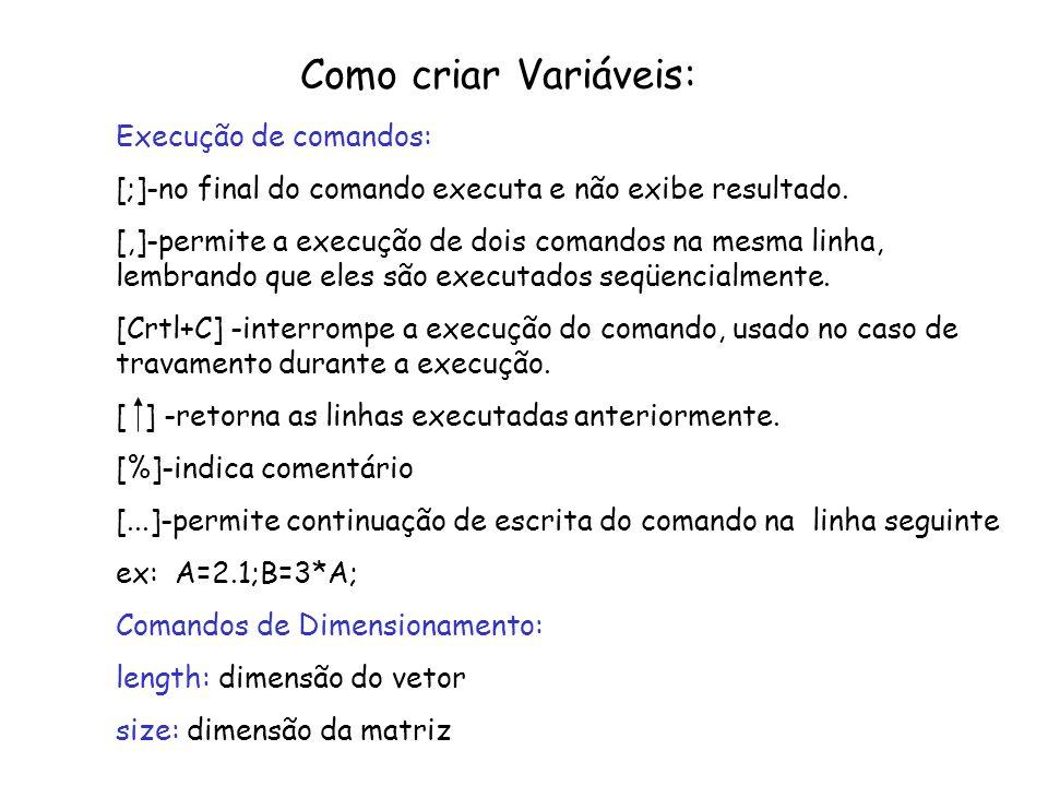 Como criar Variáveis: Execução de comandos: [;]-no final do comando executa e não exibe resultado. [,]-permite a execução de dois comandos na mesma li