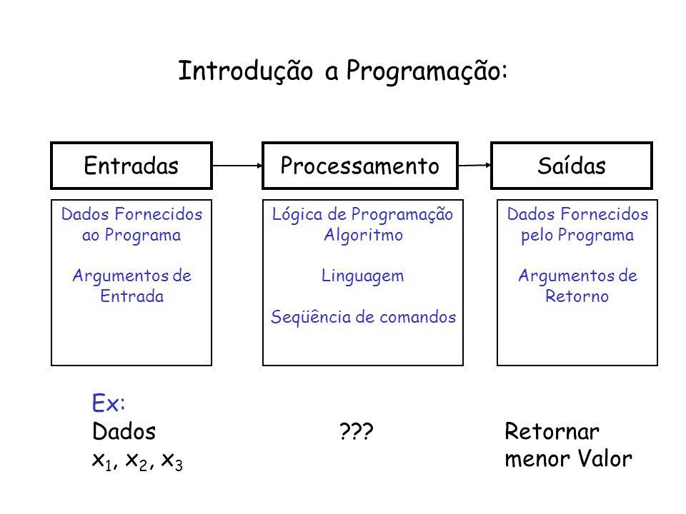 Introdução a Programação: ProcessamentoEntradasSaídas Dados Fornecidos ao Programa Argumentos de Entrada Lógica de Programação Algoritmo Linguagem Seq