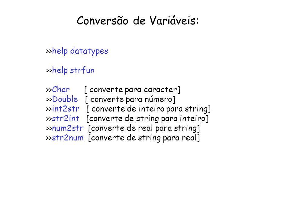 Conversão de Variáveis: >>help datatypes >>help strfun >>Char [ converte para caracter] >>Double [ converte para número] >>int2str [ converte de intei