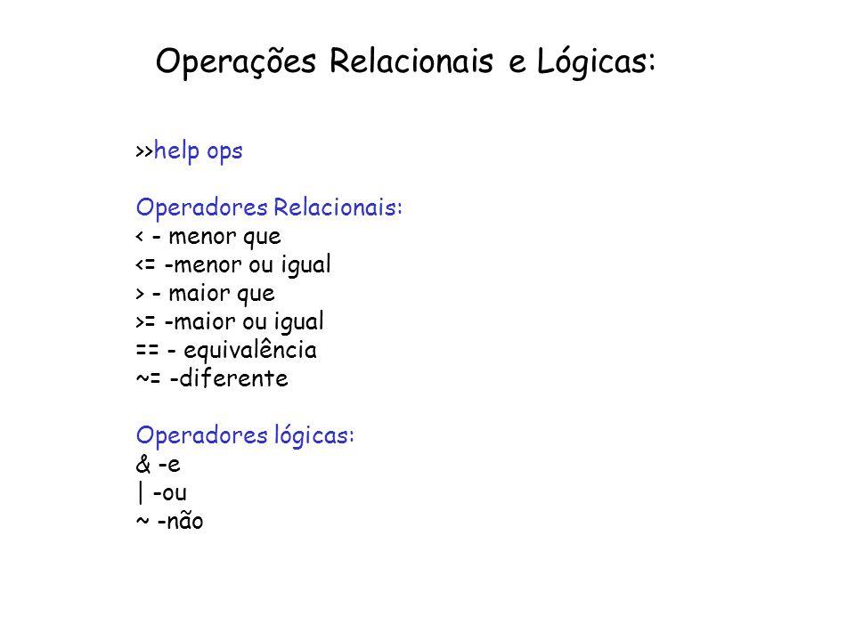 Operações Relacionais e Lógicas: >>help ops Operadores Relacionais: < - menor que <= -menor ou igual > - maior que >= -maior ou igual == - equivalênci