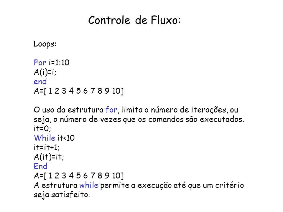 Controle de Fluxo: Loops: For i=1:10 A(i)=i; end A=[ 1 2 3 4 5 6 7 8 9 10] O uso da estrutura for, limita o número de iterações, ou seja, o número de