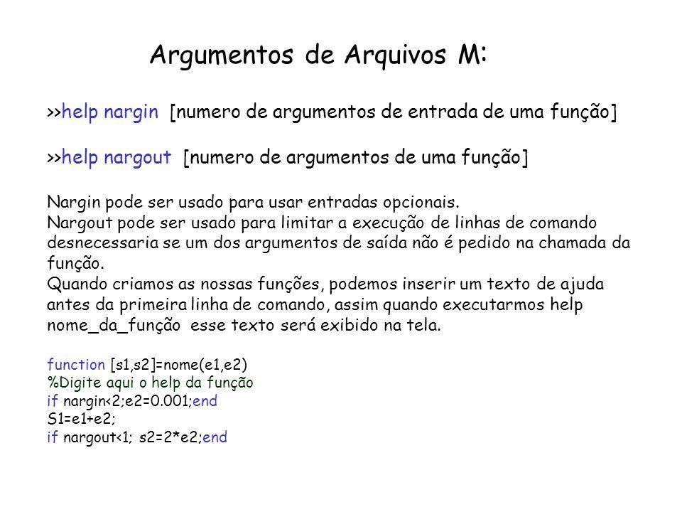 Argumentos de Arquivos M : >>help nargin [numero de argumentos de entrada de uma função] >>help nargout [numero de argumentos de uma função] Nargin po