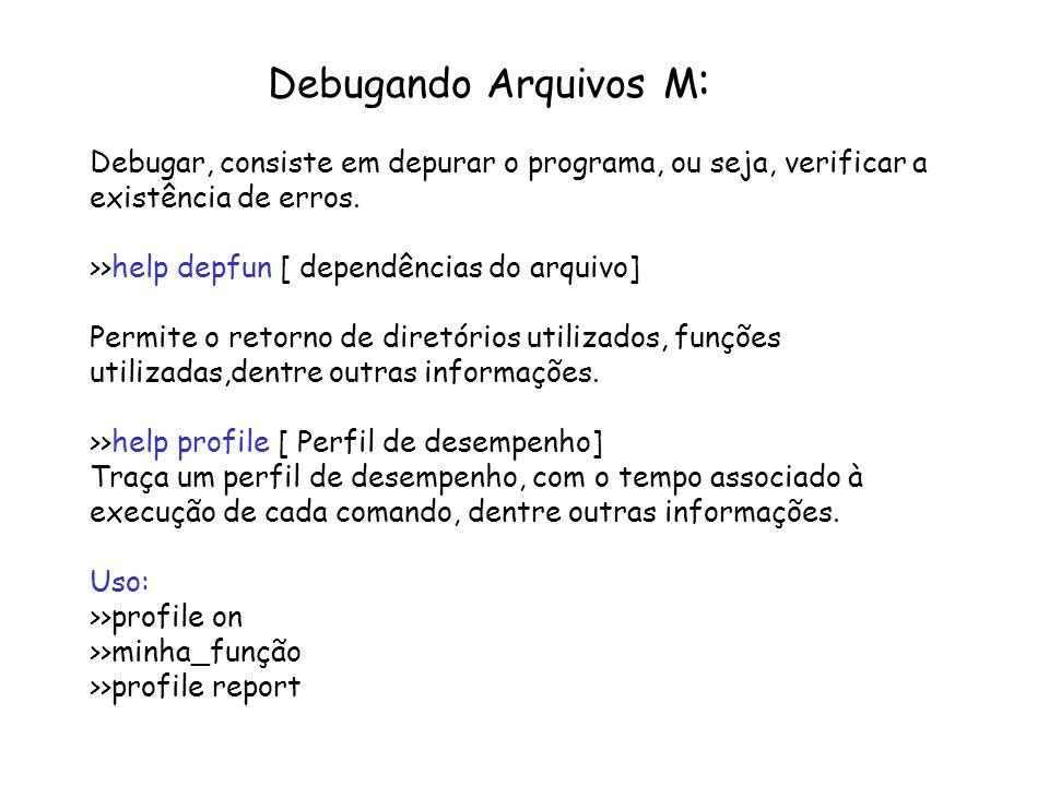 Debugando Arquivos M : Debugar, consiste em depurar o programa, ou seja, verificar a existência de erros. >>help depfun [ dependências do arquivo] Per