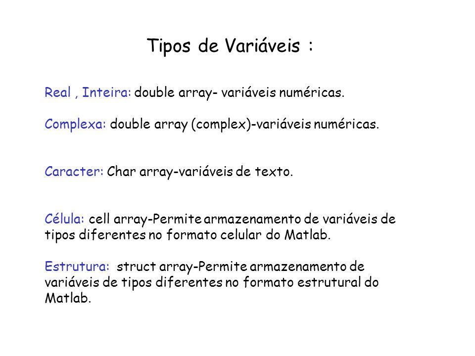 Formato de Variáveis Numéricas : >>help format >>format short [5 dígitos] >>format short e [5 dígitos +expoente] >>format long [16 dígitos] >>format long e [16 dígitos +expoente] >>format + [positivo, negativo ou 0] >>format rat [Aproximação racional]