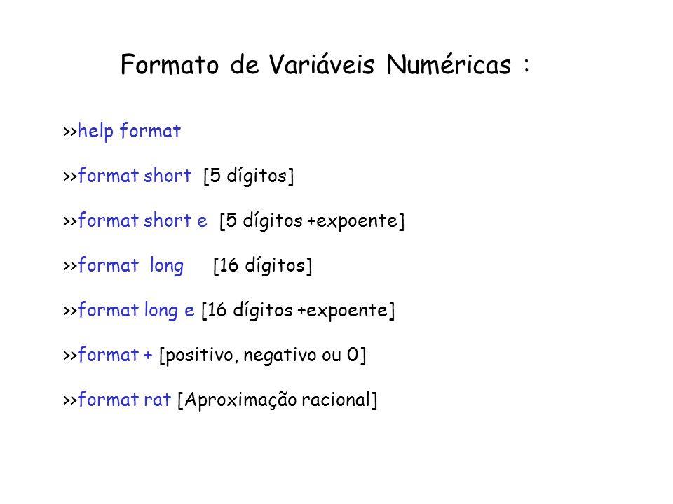 Matrizes Celulares: Opção 1: Criando matriz celular vazia e depois preencher M=cell( num linhas, num colunas), M=cell(2,3) Opção 2: Preencher direto M(1,1)={ [ 1 2; 3 4]} Indexação de posições celulares: M{ linha 1, coluna j}: M{1,2}=[ 1 2; 3 4]; Indexando elemento internos das células: M{1,2}(2,1)=3 >>cellpisp – exibe toda a célula Utilizada para armazenar variáveis matriciais ou de diferentes tipos com fácil indexação.