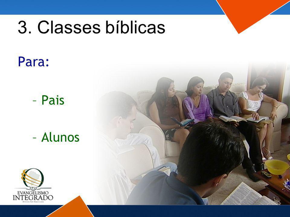 3. Classes bíblicas Para: –Pais –Alunos